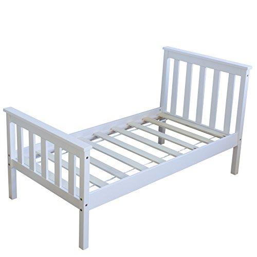 Homestyle4u 1417, Kinderbett 70x140 Weiß, Holzbett mit Lattenrost, Kiefer