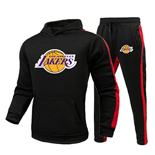 Gofei Herren Damen Lakers Trainingsanzige Pullover Hoodie Sweatshirt Basketball Sportswear Trainingsanzug Set Kapuzenpullover Jogginghose