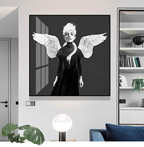 wZUN Chica con alas Pintura Decorativa Mural Lienzo Pintura y decoración de la Sala de Estar del hogar Pintura 60x60 Sin Marco