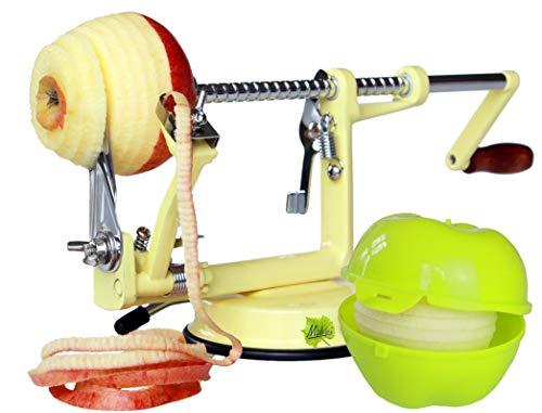 Made for us - Profi Alu- Apfelschäler Apfelschneider Apfelentkerner Schälmaschine mit Apfeldose, 50er-Jahre Vanilla-Gelb