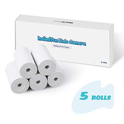 Dragon Touch 5 Rollen Kinderkamera Druckpapier für Instantfun Sofortbildkamera, Thermopapier Sofortdruck Kinderpapierrollen Nachfülldruckpapier für Jungen Mädchen Kinderkamera