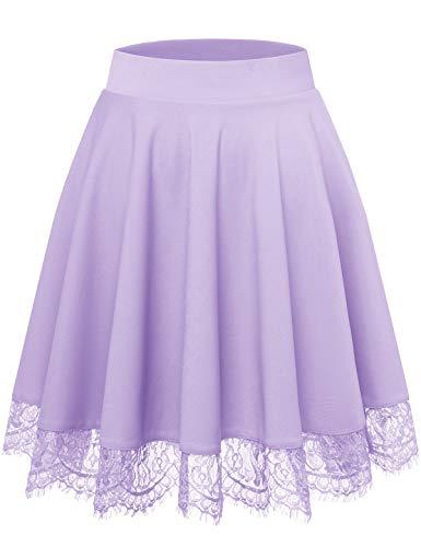 Bbonlinedress-Womens-Mini-Skater-Lace Skirt High Waisted Casual Versatile Stretchy Flared Skirt Lavender XL