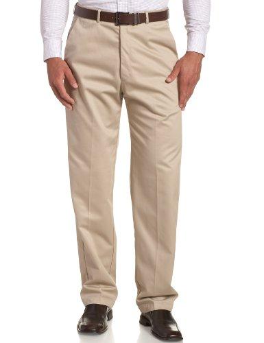 Haggar Men's Work To Weekend Hidden Expandable Waist No Iron Plain Front Pant,Khaki,44x30