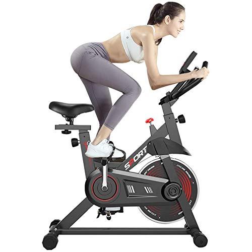 YI'HUI Heimtrainer Fahrrad mit Schwungrad – Ergometer inkl. Riemenantrieb & stufenloser Widerstand - Speedbike mit LCD Display