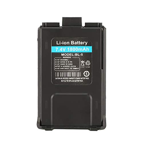 Monllack Batería de Iones de Litio, batería de Iones de Litio de 1800 mAh para Radio bidireccional Baofeng UV-5R UV-5RE Walkie Talkie (Negro)