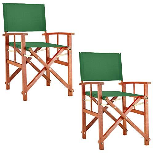 Deuba Set de 2X sillas Plegables Cannes Verde de Madera de e