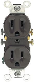 Leviton 5320 15 Amp, 125 Volt, Duplex Receptacle, Residential Grade, Grounding, All Screws Backed Out, Brown