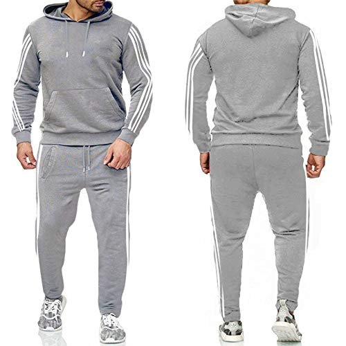 JX-PEP Conjunto de 2 piezas para hombre de chándal de otoño invierno con capucha + pantalones con cordón para hombre ropa de entrenamiento, manga larga, gris claro, XL