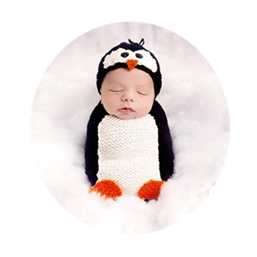 Coberllus Newborn Baby Photography Props Outfits Penguin Hat Sleeping Bag for Boy Girls Photography Shoot