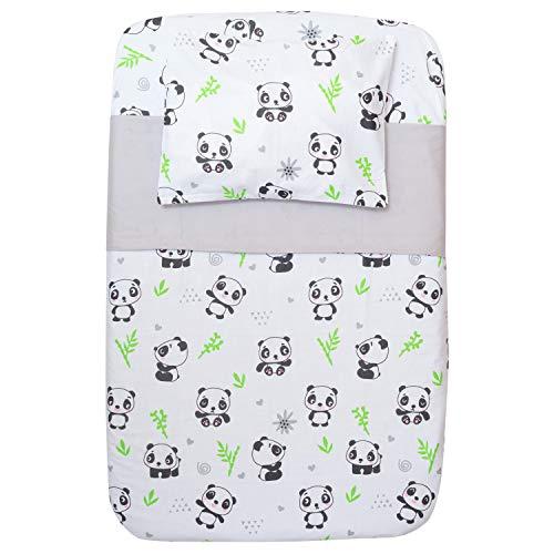 CangooCare Juego de sábanas de 4 piezas Next2Me, Cuna Cosleeping, 100% algodón, 1 Edredón de Plumón 350gr, 1 sábana bajera, 1 sábana encimera, 1 funda de almohada (Panda)