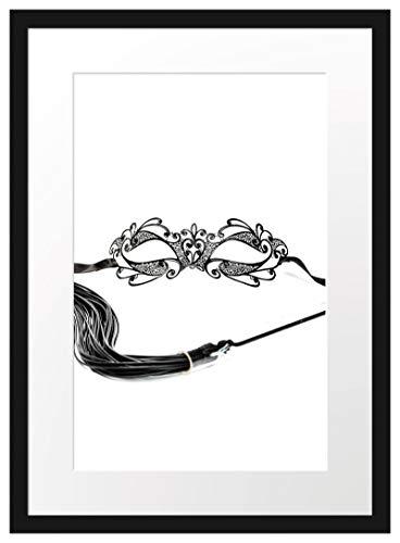 Picati Sexy Frauenoberkörper mit Seilen Bilderrahmen mit Galerie-Passepartout | Format: 55x40cm | garahmt | hochwertige Leinwandbild Alternative