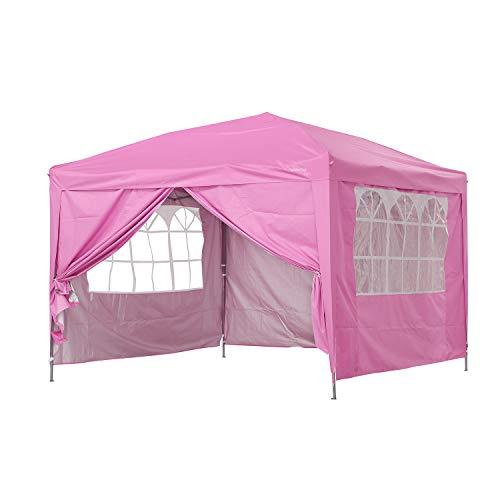 Klismos 10x10 Pop Up Canopy Outdoor Portable Party Beach Tent Instant Gazebo with 4 Removable Sidewalls for Wedding Party (Pink)