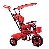 BAIYAN Triciclo Triciclo Triciclo, Bicicleta de Tres Ruedas Infantiles con toldo, 1-6 años de Edad bebé al Aire Libre Bicicleta de Tres Ruedas Bicicleta de Tres Ruedas diseño de Cerca, Rojo