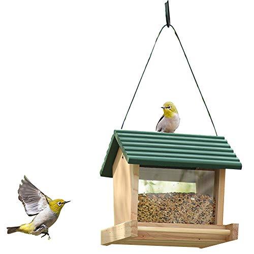 PJDDP Futterspender Zum Hängen Vogelfutterhaus Vogelhaus Futterstation Vogelhäuschen Vogel Futterhäuschen Holz Aufhängevorrichtung Vogelfutterhaus Kunststoff Für Wildvögel Balkon