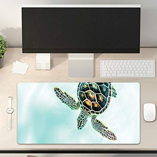 Desk Pad Non-Slip PU Leather Desk Mat Vivid Sea Turtle Swimming Teal Ocean Lives Underwater World Sea Gaming Mouse Pad Keyboard Laptop Desktop Computer Mat for Office Home 31.5' x 15.7'