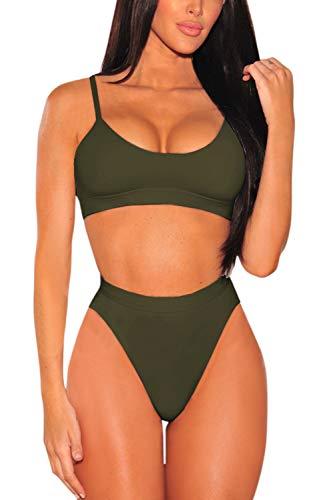 Pink Queen Women's Strap High Cut High Waisted Cheeky Bikini Set S Army Green