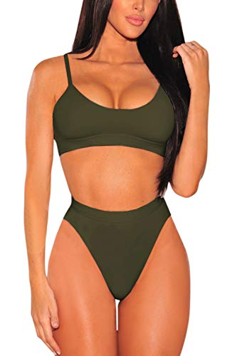 Pink Queen Women's Strap High Cut High Waisted Cheeky Bikini Set M Army Green
