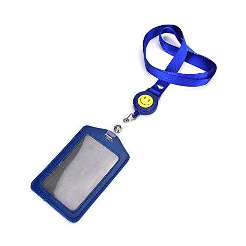 Jiyoujianzhu - Soporte para tarjeta de identificación, retráctil, correa para el cuello, color azul