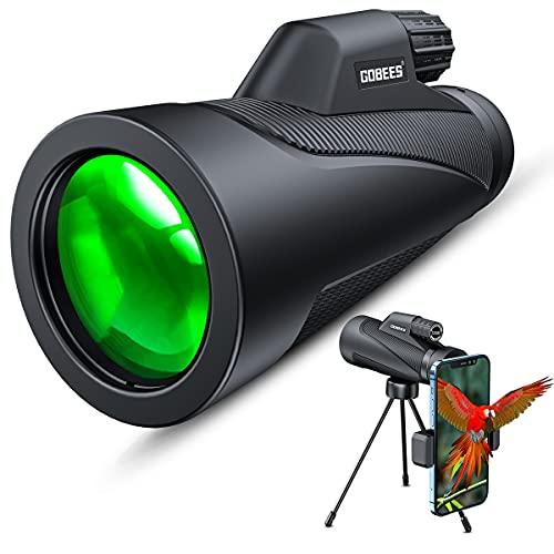 Monocular Gobes Starscope monocular 12 × 50 HD Telescopio con soporte para teléfono móvil y trípode, zoom BAK-4 FMC de 12 aumentos, visión nocturna, resistente al agua, juegos de pelota, conciertos.