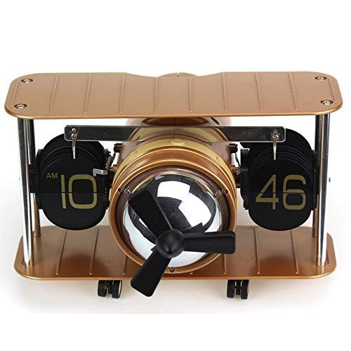 Hancoc Flugzeug Flip Wanduhr Creative Home Clock Automatische Seite Drehen Craft Clock (Color : Brown)