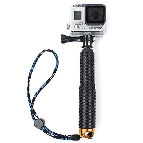 Flycoo - Palo de selfie para cámara de acción para GoPro Hero 5 4 3 + 2 / Sony Action Cam/Canon/Nikon/Sony/Panasonic/Olympus SJ5000 SJ4000 Xiaomi Mijia 4K etc Monopod Extensible 19-49 cm (Oro)