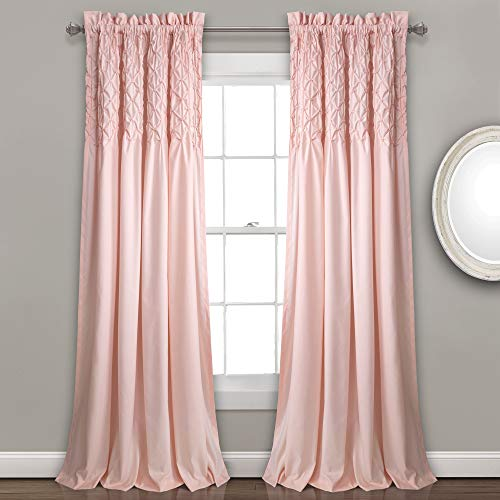 """Lush Decor Bayview Curtains - Pintuck Textured Semi Sheer Window Panel Drapes Set for Living, Dining, Bedroom (Pair), 84"""" x 52"""", Blush"""