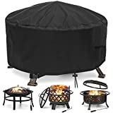 Fire Pit Cover Round Waterproof Firepit Cover 600D Heavy Duty Thick PVC Coating with Buckles, Drawstring Closure & 2 Air Vents Patio Anti-UV Cover for Fire Pit Outdoor (36 inches)