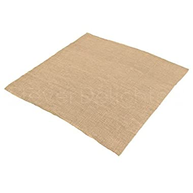 10 Pk - CleverDelights Square Burlap Tablecloth - 60  x 60  - Premium Jute Burlap Overlay - Finished Edge