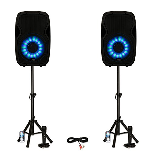 """Acoustic Audio AA15LBS Powered 2000W 15"""" Bluetooth Flashing LED Speakers with Mics and Stands"""