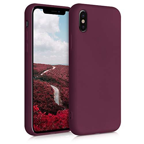 kwmobile Cover Compatibile con Apple iPhone X - Custodia in Silicone Effetto Gommato - Cover Back Case Protezione Cellulare - Rosso Fulvo
