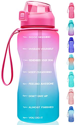 Fidus Large Half Gallon/64oz Motivational Water Bottle with Time Marker & Straw,Leakproof Tritan BPA Free Water Jug,Ensure You Drink Enough Water Daily for Fitness-Light Pink/Green Gradient