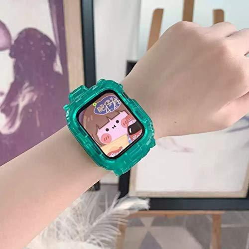 Hspcam Correa transparente + funda para Apple Watch Series 6 SE 5 4 44 mm 42 mm transparente para iwatch Strap 3 2 1 38 mm 40 mm correa de plástico (42 mm o 44 mm, verde)