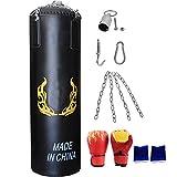 ASDFGG-hm Sacos Pesados de Boxeo Punch Bolsa for el Entrenamiento del Boxeo Bolso Colgante corpulento con los Guantes de perforación Cadena Gran Soporte de Pared for Grappling MMA Kickboxing