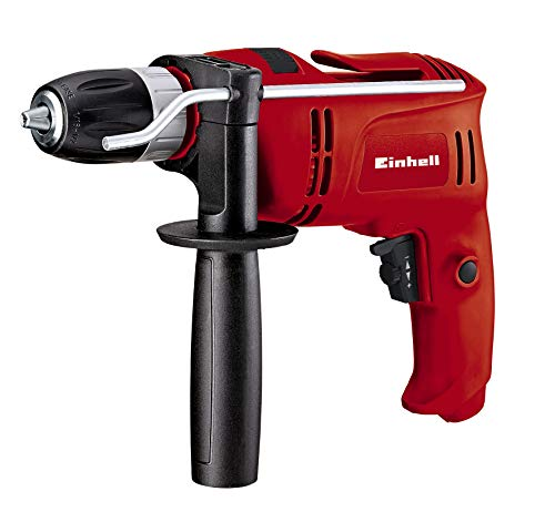 Einhell Percussion Drill TC-ID 650 E (650 W, 0 - 2600 1/Minute Rotational Speed, Auxiliary Handle with Fixation, Inclusive Metal Depth Stop)