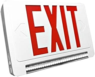 Ciata Lighting LED Red Exit Sign & Emergency LED Lightpipe Combo with Battery Backup