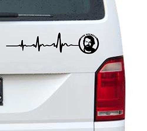 myrockshirt Herzschlag einfarbig Bud Spencer Logo Gesicht Portrait 50cm Aufkleber für Auto,Lack,Scheibe&Wand, Autoaufkleber Decal Sticker Profi-Qualität
