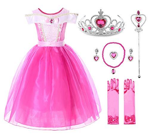 JerrisApparel Niña Princesa Aurora Disfraz Vestir Bella Durmiente Vestito (5 años, por la Tobillo con Accesorios)