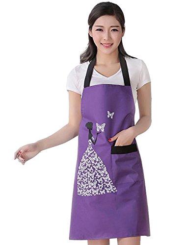 Moolecole Cocina para Mujer Delantales Impermeables Peto Anti-Aceite De La Mancha Sin Mangas Adulto PVC De La Mariposa del Delantal Delantal con Uno Bolsillos para Cocinar Hornear Púrpura