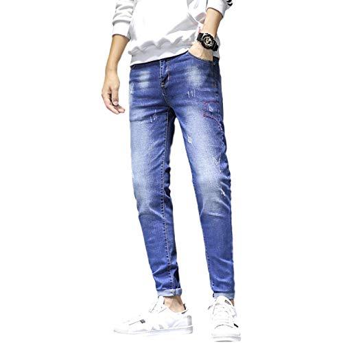 Pantalones Vaqueros para Hombre Four Seasons New Trend Slim-fit Pantalones de Mezclilla Harlan Monos Retro Jeans Casuales M