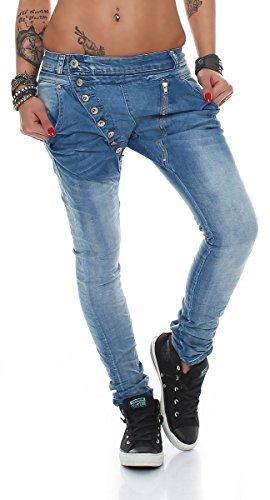 Fashion4Young 5857 MOZZAAR Damen Jeans Hose Röhrenjeans Haremshose Röhre Damenjeans Hüftjeans (XS = 34, Dunkelblau)