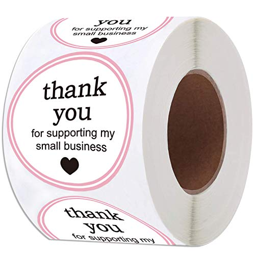 """2"""" Round Thank You for Supporting My Small Business Sticker Labels with Hearts - Waterproof Printed Pink/White Small Business Thank You Stickers 500 Thank You Labels Per Roll (Pink, 2 Inch)"""