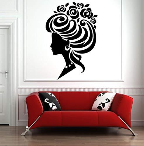 Pegatinas de pared Peluquería Calcomanía para ventana Arte Belleza Pegatinas de pared Decoración de mujer hermosa