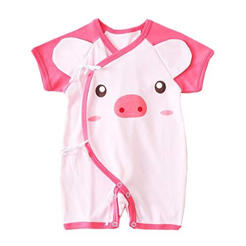 PAUBOLI Baby Kimono Romper Katoen Pasgeboren Wrap Shirt Mooie Varken Onesies 0-12 Maanden