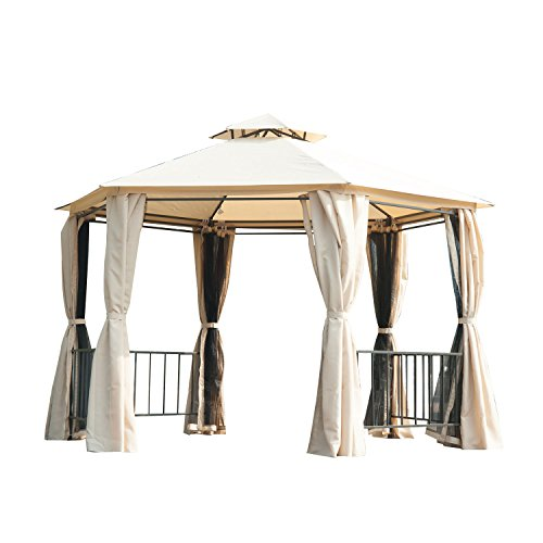 Outsunny Hexagon Gazebo Patio Canopy Party Tent Outdoor Garden Shelter w/ 2 Tier Roof & Side Panel - Beige