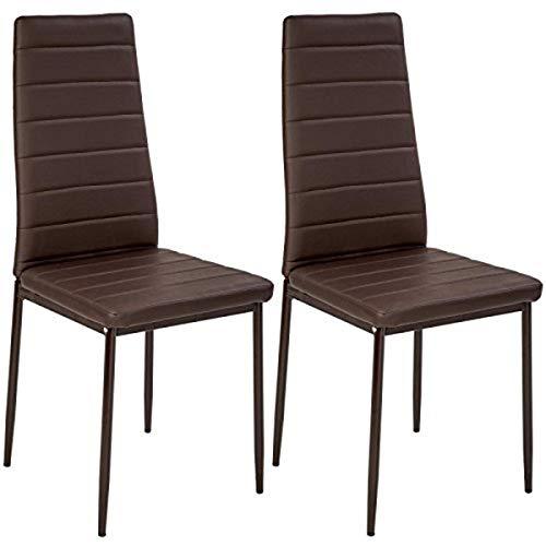 Helloshop26 Lot de 2 Chaises de Salle à Manger Salon Cuisine Design, Faux Cuir, Marron, 41 x 45 x 98,5 cm
