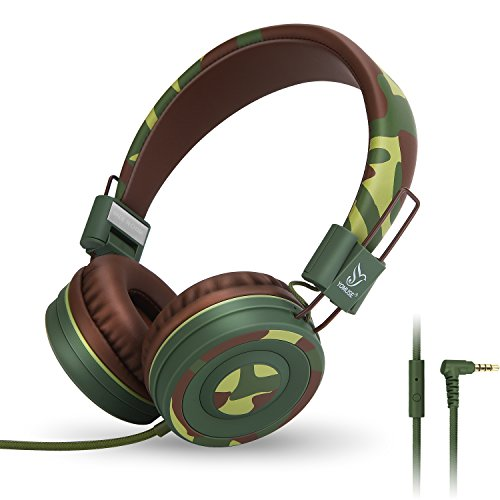 Yomuse C89 On Ear Foldable Headphones with Microphone, Adjustable Headband for Kids Adults, iPhone iPad iPod Computers Tablets Smartphones DVD, Camo Green