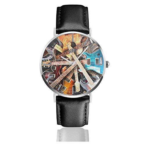 Reloj para Hombre Guitarra eléctrica Pintura Correa de Cuero Reloj de Pulsera...