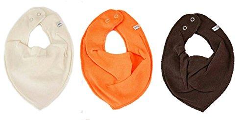 Pippi Pippi Halstuch 3er Set Baby Halstücher Dreieckstücher Uni (Creme-orange-braun)