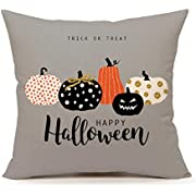 """4TH Emotion Halloween Pumpkin Throw Pillow Cover Cushion Case for Sofa Couch 18"""" x 18"""" Inch Cotton Linen(Trick or Treat)"""
