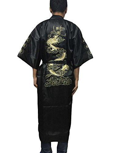 YueLian Vestaglie e Kimono da Uomo Ricamato Drago e Caratteri Cinesi (Nero)